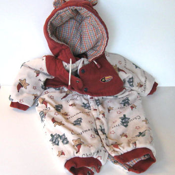 Vintage Toddler Christmas Snow Suit, Bunting, Clothing, Babies, Velor, 12 month