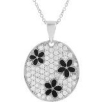 Sterling Silver Cubic Zirconia Pave-set Circle with Black Flowers Necklace | SilverBin
