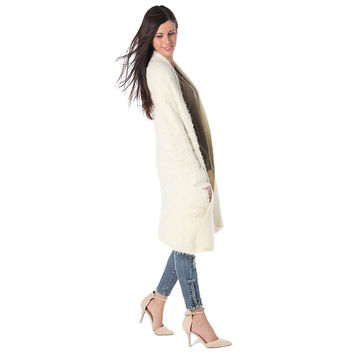 Q2 STORE Cream supersoft cardigan with fluffy finish
