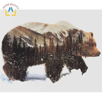 oil painting by numbers hand painted canvas painting wall art home decor animal pictures bear 40X50cm diy ditigal painting SY005