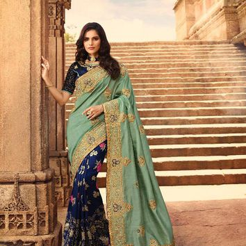 Royal Blue and Pista Green Heavy Embroidered Luxurious Indian Pure Silk Sari - VIR13290