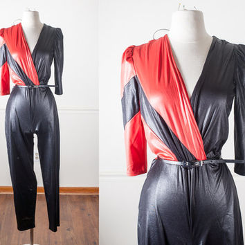 80s Futuristic Black Jumpsuit | Sexy Wet Look Jumpsuit Color Block Playsuit Avant Garde Black Catsuit Vintage 70s Jumpsuit Wrap Around Retro