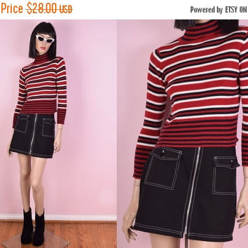 ON SALE 90s Striped Turtleneck Shirt