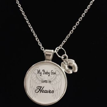 Guardian Angel Baby Girl Footprint Heaven Child Passed Quote Memory Necklace