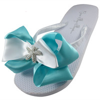 Starfish Wedding Bridal Flip Flops, Bridesmaid Flip Flops