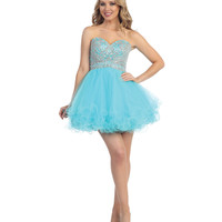 Aqua Beaded Bodice Chiffon Dress 2015 Homecoming Dresses