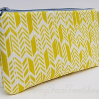 Yellow green/  chartreuse chevron / feather / herringbone print pencil case / cosmetic case / zipper pouch/ organizer