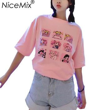 NiceMix Kawaii T Shirt Summer Women Tops 2018 Harajuku T-shirts Print Sailor Moon Loose Short Sleeve Plus Size Tee Shirt Femme