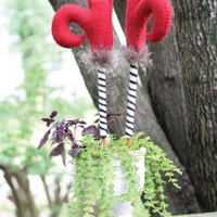Set of Two Felt and Wood Witch Boots Plant Stakes, 6 x 2 x 20 in