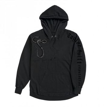 Black Hooded Pullover With Snake Design