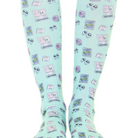 INTERNET BLUES KNEE HIGH SOCKS