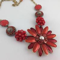 Red Flower Necklace, Large, Floral Bib, bold Assemblage, Reclaimed, Vintage Jewelry, OOAK