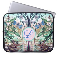 Dragonflies at pond illustration laptop sleeve