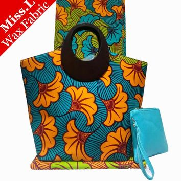 Miss L Fashion African Women Hollandais Wax Bags, 6 Yards African Dutch Wax Fabric