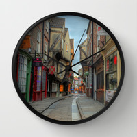 York Shambles HDR  Wall Clock by Karl Wilson Photography
