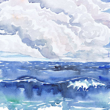 Landscape painting, wave art print, watercolor,  Seascape wall art , ocean Décor, nautical prints, cloud art print, cloud print, Val Ra