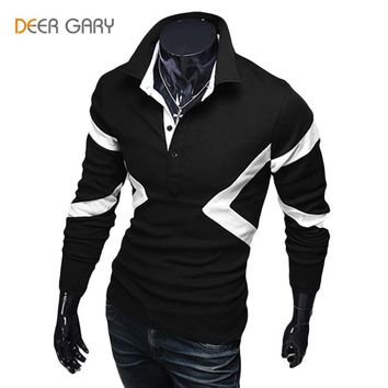 New Style Long Sleeve Stitching design Men Polo Shirts Casual Lapel Slim Fit Tops Shir