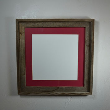 Picture Frame 8x8 With Red Mat For 6x6 Or From Barnwood4u