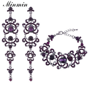 Minmin Purple Crystal Bridal Jewelry Sets Large Teardrop Earrings Bracelets Sets Wedding Jewelry Sets for Women EH168+SL029