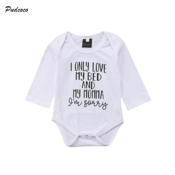 Pudcoco Newborn Infant Baby Boy Girl Long Sleeve Letter Print Cotton Romper Jumpsuit One Pieces Outfits Cotton Clothes for 0-18M