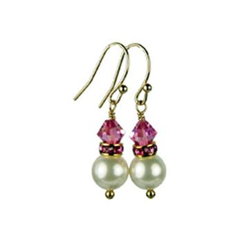 Akoya Pearl Earrings, 14K Gold 8mm Freshwater Akoya Pearl Birthstone Earrings, October Rose (Pink Tourmaline) Swarovski Crystal Earrings