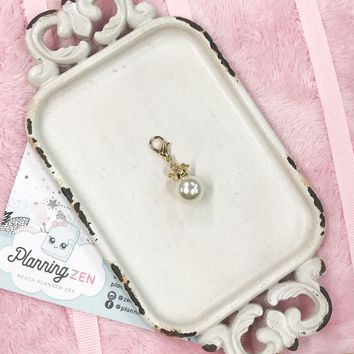 Planner Charm with Faux Pearl and Delicate Gold Tone Crown