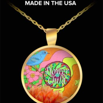 """Adorable """"Flower Child"""" Hippie Necklace with Gold Pendant. Limited."""