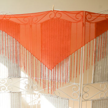 Vintage neon Orange Triangle Shawl with beaded fringes. Sheer scraf.  Boho, hippie, bohemain, gypsy, coachella festival.Cover up, wrap