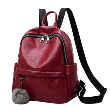 WILLTOO Women Fashion Backpack Rucksack Girl School Bag Satchel Tote 3 Classic Color with Plush Ball