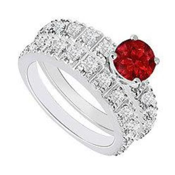 14K White Gold : Ruby and Diamond Engagement Ring with Wedding Band Set 1.50 CT TGW
