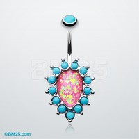 Opulent Opal Turquoise Belly Button Ring