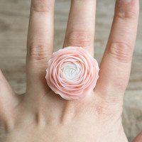 Pink White Floral Ring Rose, Ranunculus, Rose Ring, Flower Ring