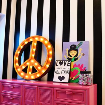 """36"""" Large Peace Sign Vintage Marquee Sign with Lights (Rustic)"""