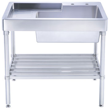 Pearlhaus single bowl, freestanding utility sink with drainboard and lower rack