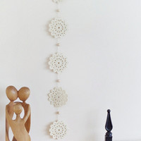 Crocheted garland, cotton crochet wall decoration, crocheted bunting, ivory wall hanging, wedding decor, home decoration