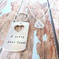 I carry your heart With Me Key chain Necklace Dogtag Hand stamped Personalized custom keyring