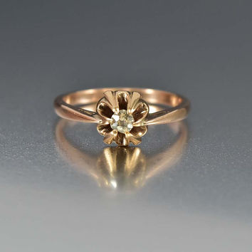 Antique Victorian Rose Gold Diamond Engagement Ring