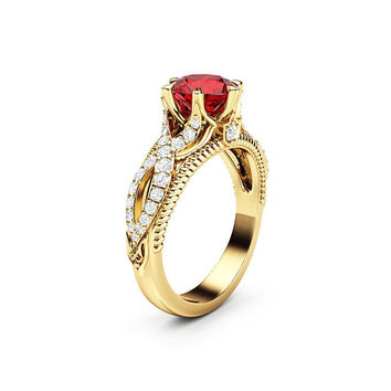 Ruby Engagement Ring Vintage Engagement Ring 14K Yellow Gold Ring Milgrain Ring