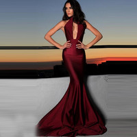 Sexy Backless Mermaid Prom Dresses 2016 Backless High Neck Party Prom Gowns High Quality Vestido De Renda