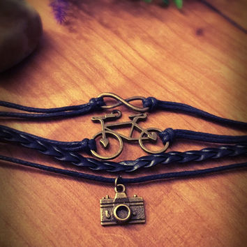 Black braided bracelet,multilayer bracelet,boho,bicycle bracelet,charm bracelet,leather bracelet,camera charm,infinity,unisex,bronze