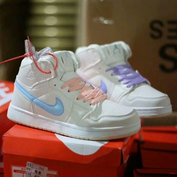 """Nike Air Force 1"" Women Casual Fashion Multicolor Logo High Help Plate Shoes Sneakers"