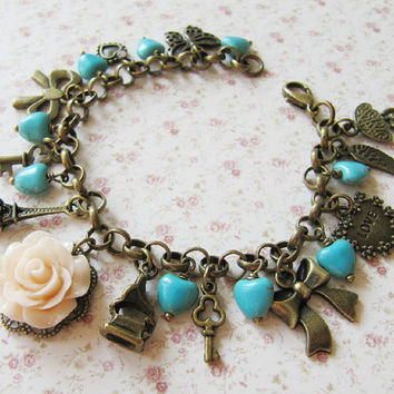 Blue heart bracelet,charm bracelet,bow,vintage style jewelry,for her,Mothers Day,Europe