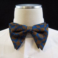 70s Bow Tie Vintage Polyester Brocade Blue Gold Pattern Gatsby Clip On