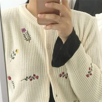 Flower Embroidered Button Down Cardigan