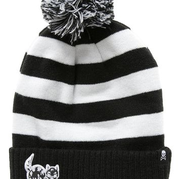 Black and White Striped Creep Heart Cat Knit Beanie by Sourpuss Clothing