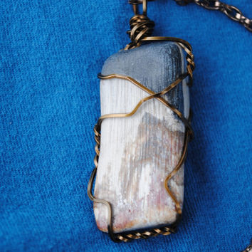 Petrified wood necklace; wire wrapped petrified wood; wire wrap stone; wire wrap wood; natural stone necklace; petrified wood pendant