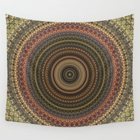 Vintage Bohemian Mandala Textured Design Wall Tapestry by Sheila Wenzel