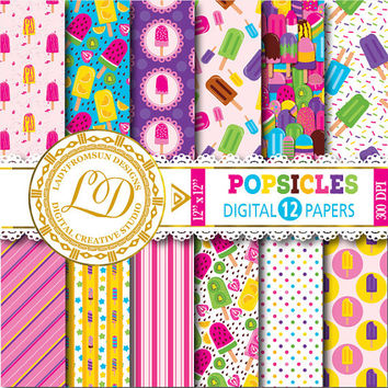 Popsicles Digital Papers , ice creams, ice lollies, popsicles, ice pop, summer, Scrapbook Paper and Backgrounds Commercial-Personal Use