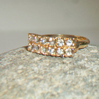 Vintage Clear Rhinestone Band Ring Size 8 Double Row Costume Jewelry