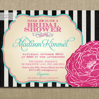 Bridal Shower Invitation Pink Fuchsia Aqua Turquoise Tiffany Blue Black & White Stripes Shabby Invite Printable or Printed - Madison Style